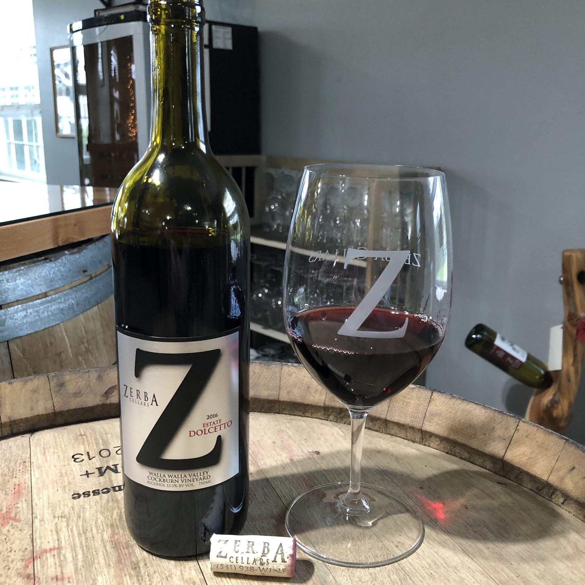 Zerba Wine Cellars Dolcitto wine bottle and glass