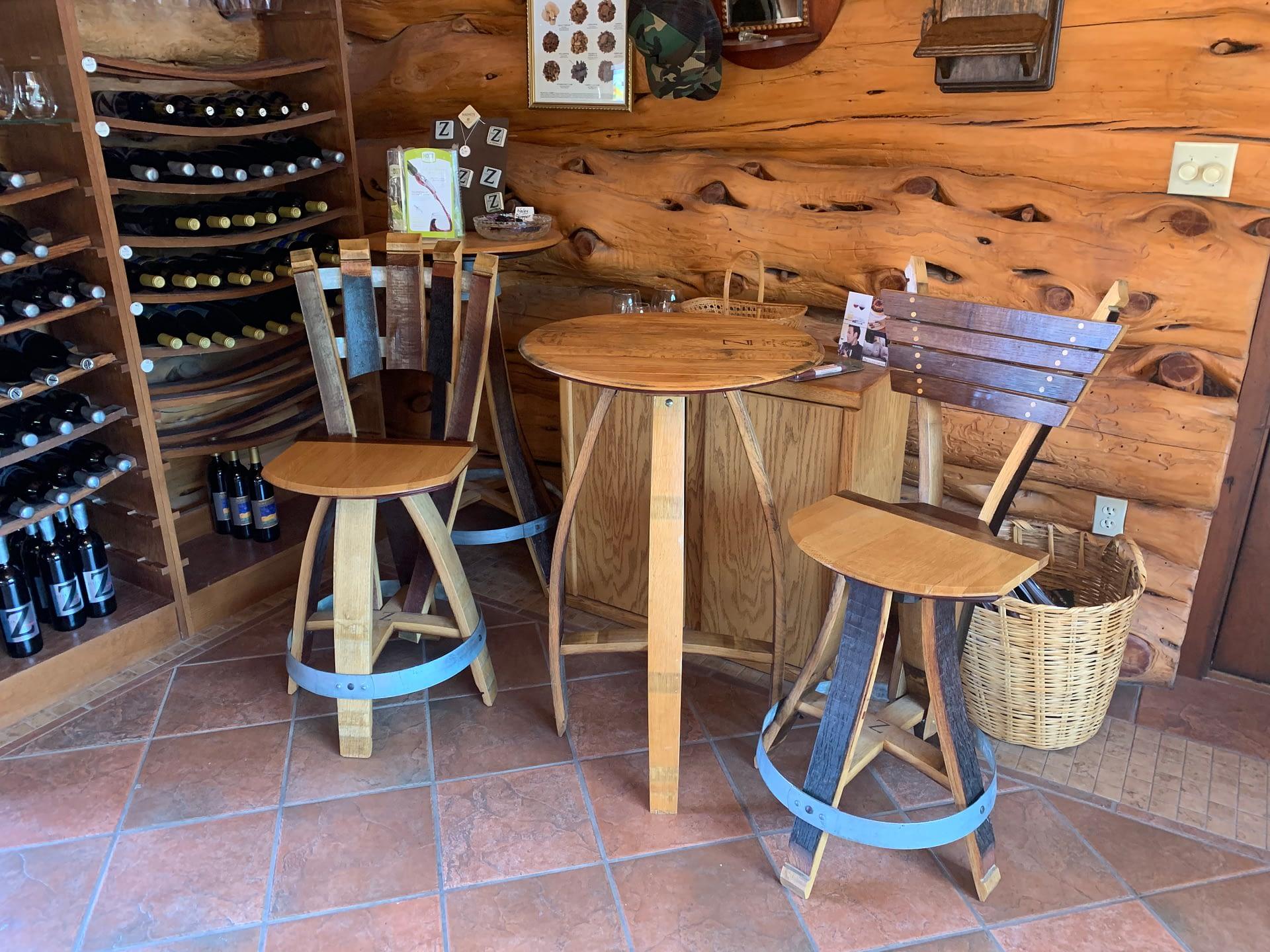 Rustic tasting room of Zerba Wine Cellars in Walla Walla Valley Milton-Freewater, Oregon