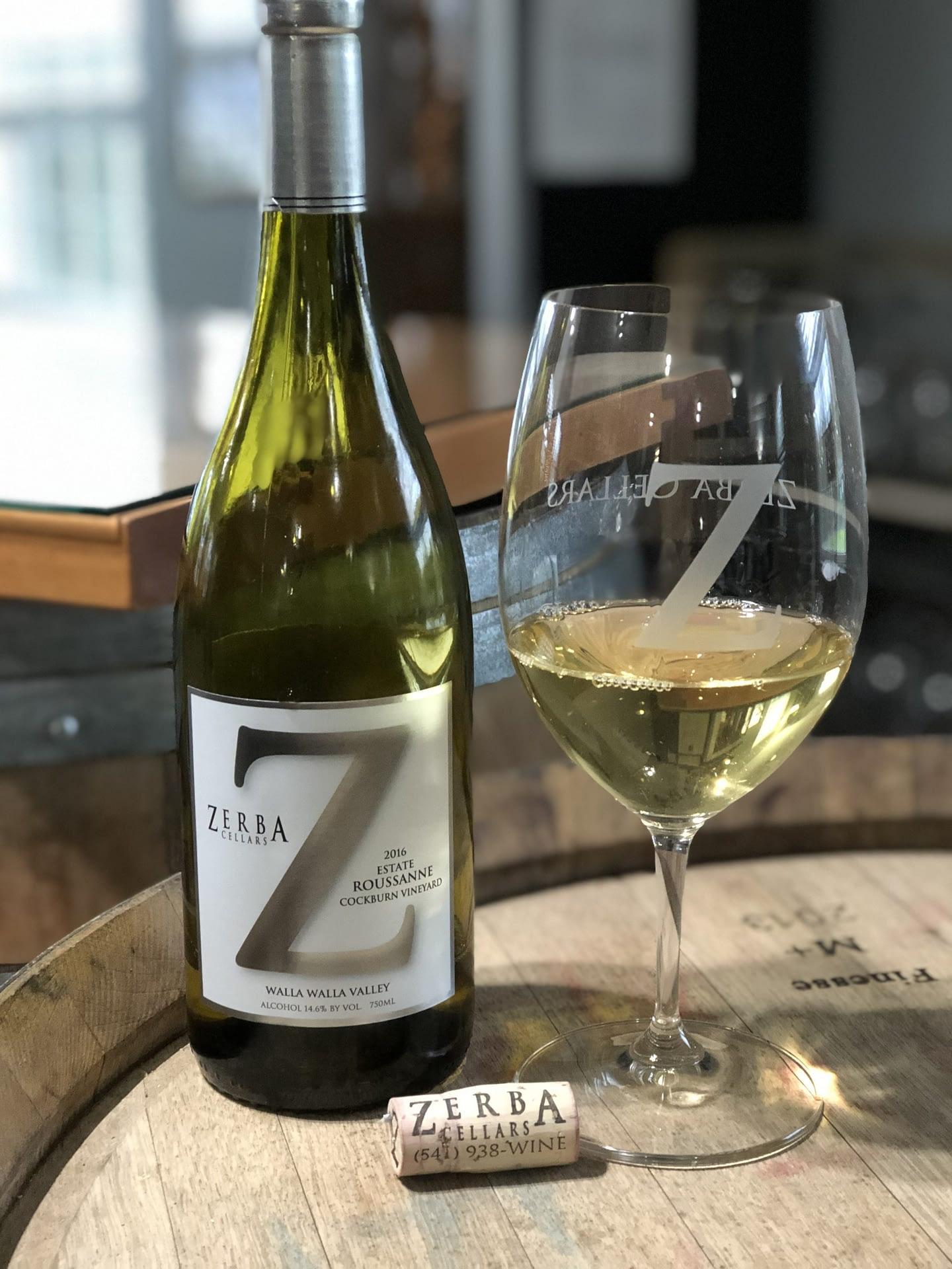 Zerba Wine Cellars white wine bottle and glass