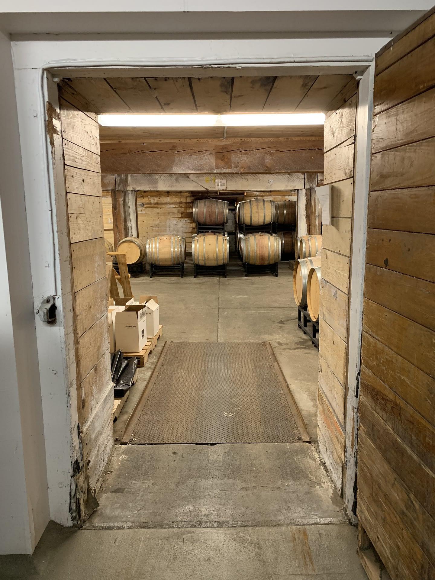Wine barrels in a a row at Zerba Wine Cellars in Walla Walla Valley Milton-Freewater, Oregon